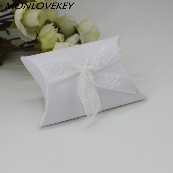 Festive & Party Supplies Systematic 50pcs/lot High Quality Kraft Paper Pillow Candy Box With Organza Ribbon Tie For Wedding Favor Event Gift Party Candy Bags Pleasant In After-Taste