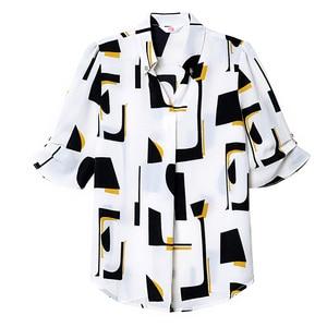 Image 5 - Élégant femmes en mousseline de soie à manches courtes chemise été 2019 nouvelle mode impression col en V blouses bureau dames grande taille hauts