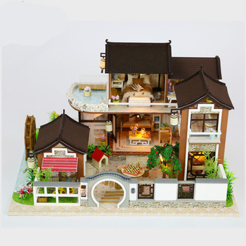 New DIY manual assembly doll house, creative model, dream back ancient town with transparent cover, birthday gift