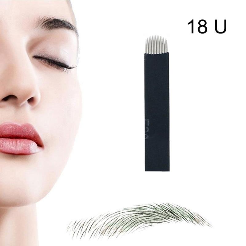 50pcs Black Manual Embroidered Eyebrow Tattoo Makeup U Shape Blade 18 Needles not Including Pen Tattoo & Body Art