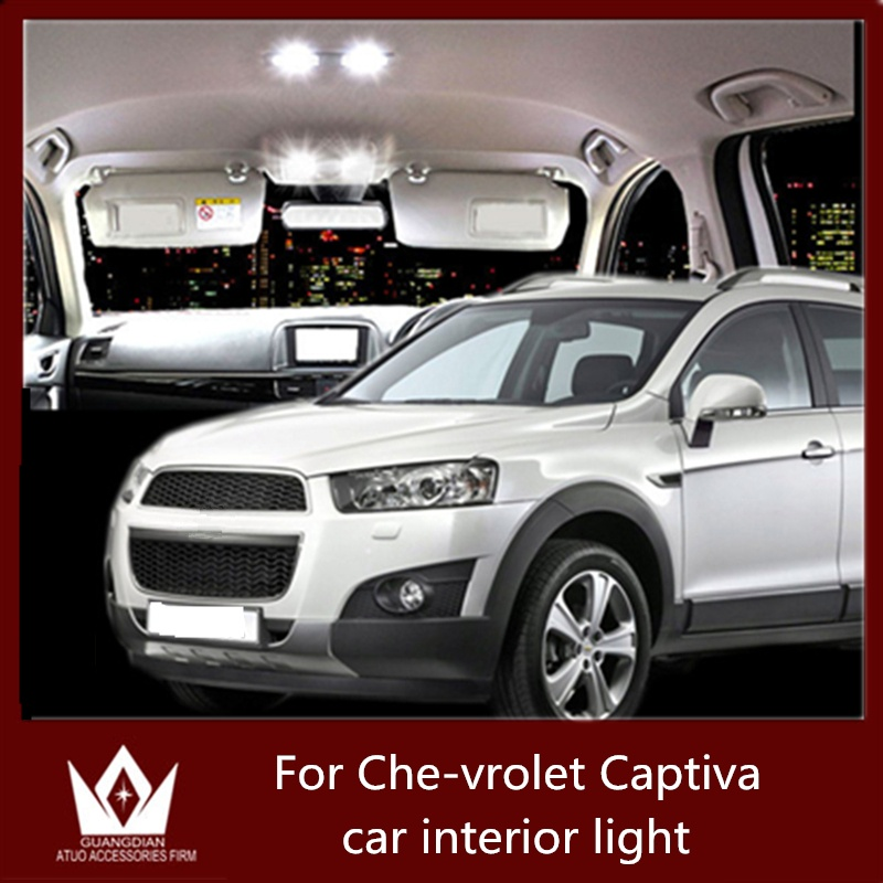 9pcs New Auto Led light White Car Interior LED Bulbs Kit Reading Lamps Indoor Lights For Chevrolet Captiva accessories 2006-2015 guangdian car led light auto interior light kit roof vanity light glove foot trunk cargo lamp t10 festoon for kia ceed 2006 2015