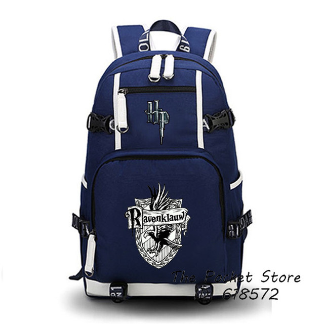 High Quality Harry Potter Gryffindor/Hufflepuff/Ravenklauw/Slytherin Hogwarts School Women Printing Backpack Canvas School Bags 5