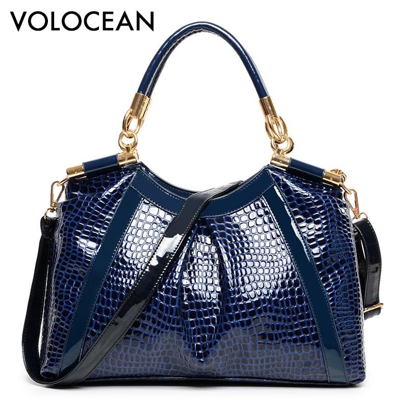 New Shoulder women bags Fashion Royal Blue Ruby Red handbags woman crocodile Pa