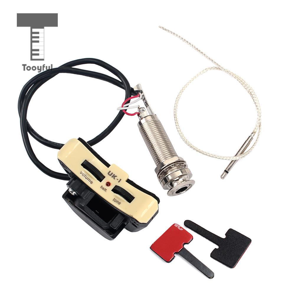 Ukulele Piezo Pickup Preamp Endpin Jack With Volume Tone Control Vol Wiring Diagram For Guitar Parts Accessories