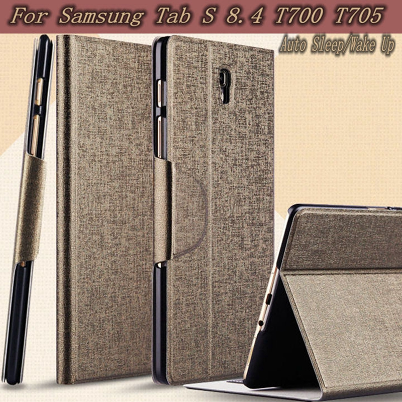 Ultra-Thin Stand Folding Smart Flip Leather Case for Samsung Galaxy Tab S 8.4 T700 T705 Cover +Free Screen Protector+ Pen luxury folding flip smart pu leather case book cover for samsung galaxy tab s 8 4 t700 t705 sleep wake function screen film pen