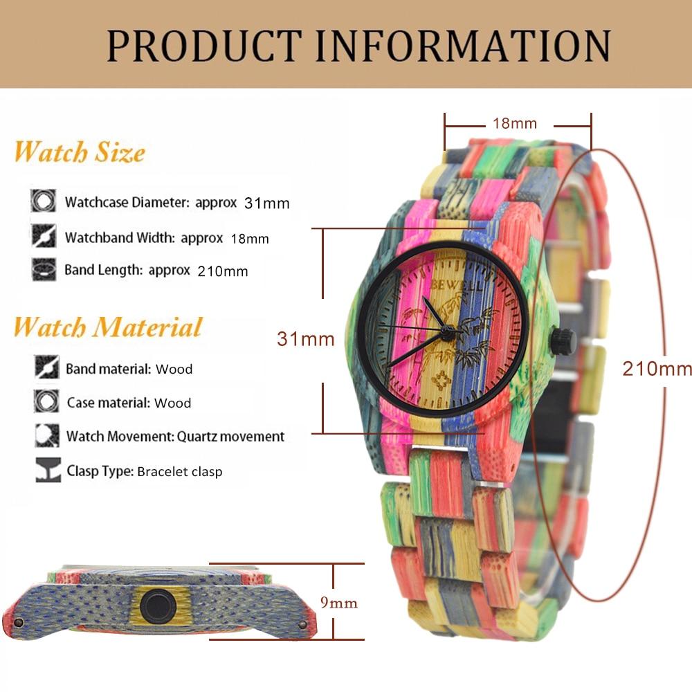 Image 5 - BEWELL 105DL Nature Handmade Colorful Bamboo Wood Watch Women Analog Quartz Fashion WristWatch with Mix Colors Free Shippingwristwatch womenwristwatch quartz watchwristwatch wood -