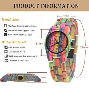 Image 5 - BEWELL 105DL טבע בעבודת יד צבעוני במבוק עץ שעון נשים אנלוגי קוורץ אופנה שעוני יד עם צבעים לערבב משלוח חינם