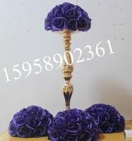 EMS free shipping purple wedding decoration 30cm wedding silk kissing flower ball purple-plastic inner