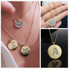Cool 925 Sterling Silver Letter A B C D Card Collar Necklace Hollow Lock VALENTINE Elegant Stackable Charm Women Wedding Jewelry(China)