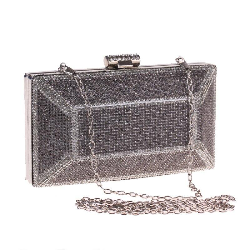 2018 Fashion Metallic Women's Evening Clutch Elegant Female Crystal Handbag Flap Box Shape Solid Shoulder Bag Black Gold Silver local focal handmade metallic silver color crystal fashion ins handbag clutch
