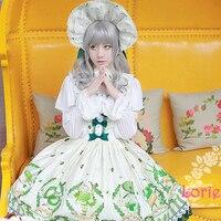 Japanese Cute Lolita Cosplay Matcha Dessert Printing Sweet Girls JSK Tea Party Dress