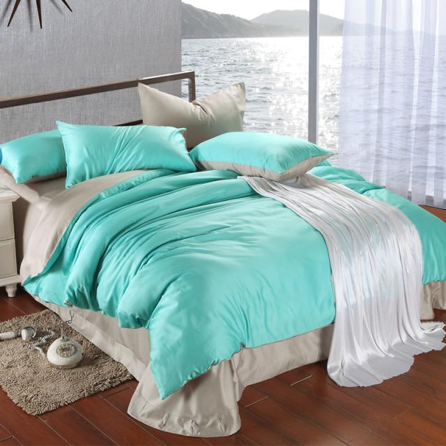 Aliexpresscom Buy Luxury Bedding Set King Size Blue Green - Blue solid color king size comforter