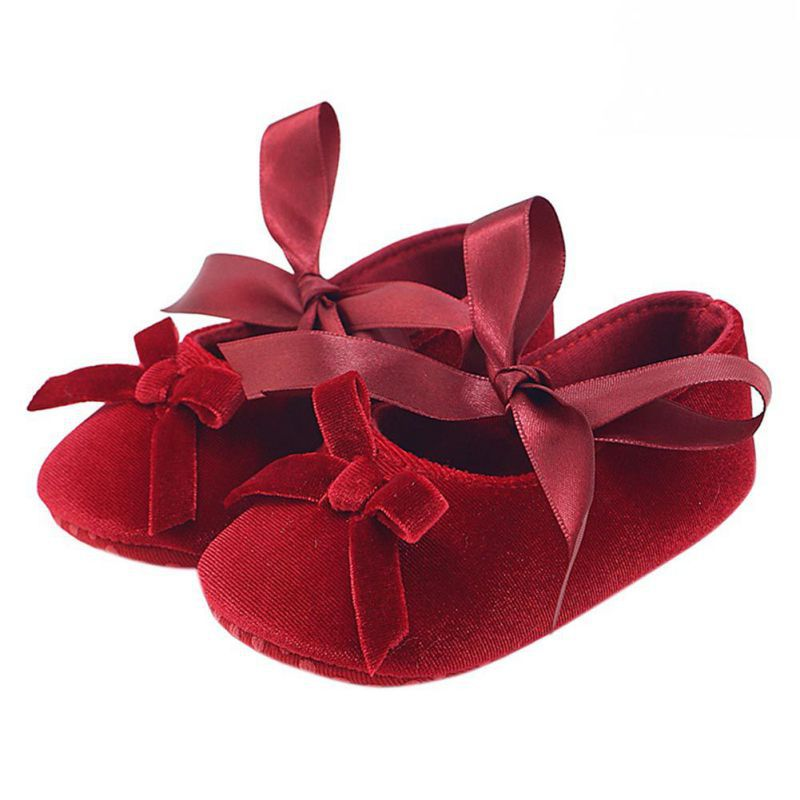 Baby Girl Bowknot Flock Shoes Infant Girl First Walker Soft Sole Shoes For 0-18 Month Kid Girls