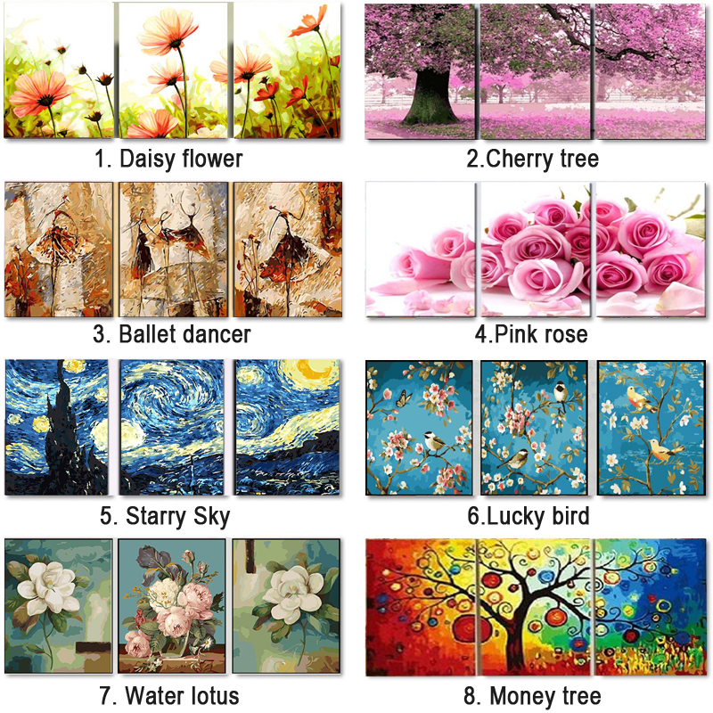 HTB1NHpCXdzvK1RkSnfoq6zMwVXak 3 pcs DIY Oil Painting by Numbers Flower Triptych Pictures Animal Coloring Landscape Abstract Paint Wall Sticker Home Decor Gift