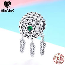 BISAER Hot Sale 925 Sterling Silver Dream Catcher Lucky Charms Beads fit Child Bracelets DIY Silver 925 Jewelry Making ECC893(China)