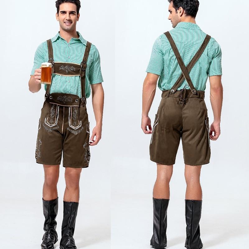 Men's Oktoberfest Cotton Cashmere Leather Lederhosen Costume For Man Party Cosplay Waiter Farmer Game Costumes Size M L XL