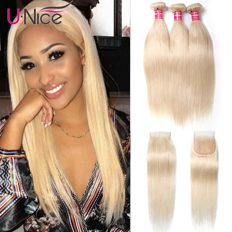 Unice Hair 613 Blonde Bundles With Closure Brazilian Remy Straight Human Hair 3 Bundles With Closure