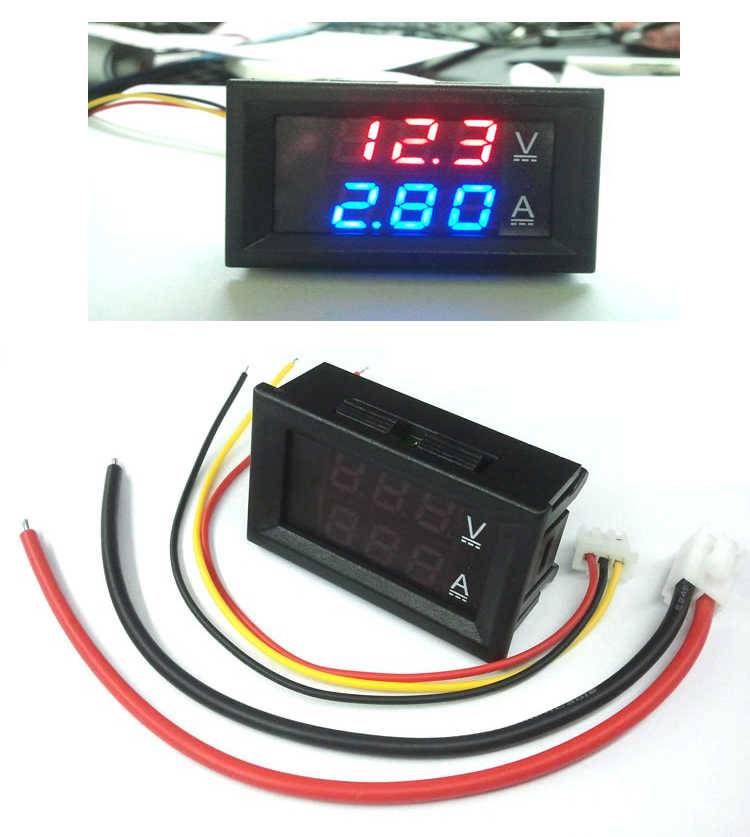 "Mini Digitale Voltmeter Ampèremeter DC 100 V 10A Panel Amp Volt Voltage Current Meter Tester 0.28 ""Red Dual LED display"