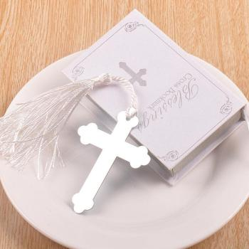 Silver Blessings Cross Bookmark with Tassel Wedding baby shower party favors gifts LX4446
