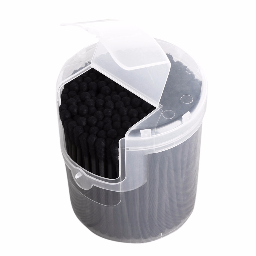 Free Shipping 200Pcs Activated Black Anti-bacterial Cotton Swab Ear Buds Double Head Cleaning