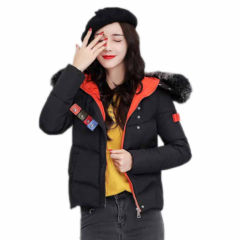 2017 New Casual Winter Faux Fur Collar Short Jacket Women Warm Hooded Cotton Female Parkas Black Slim Outerwear Overcoat RE0087 women winter coat leisure big yards hooded fur collar jacket thick warm cotton parkas new style female students overcoat ok238