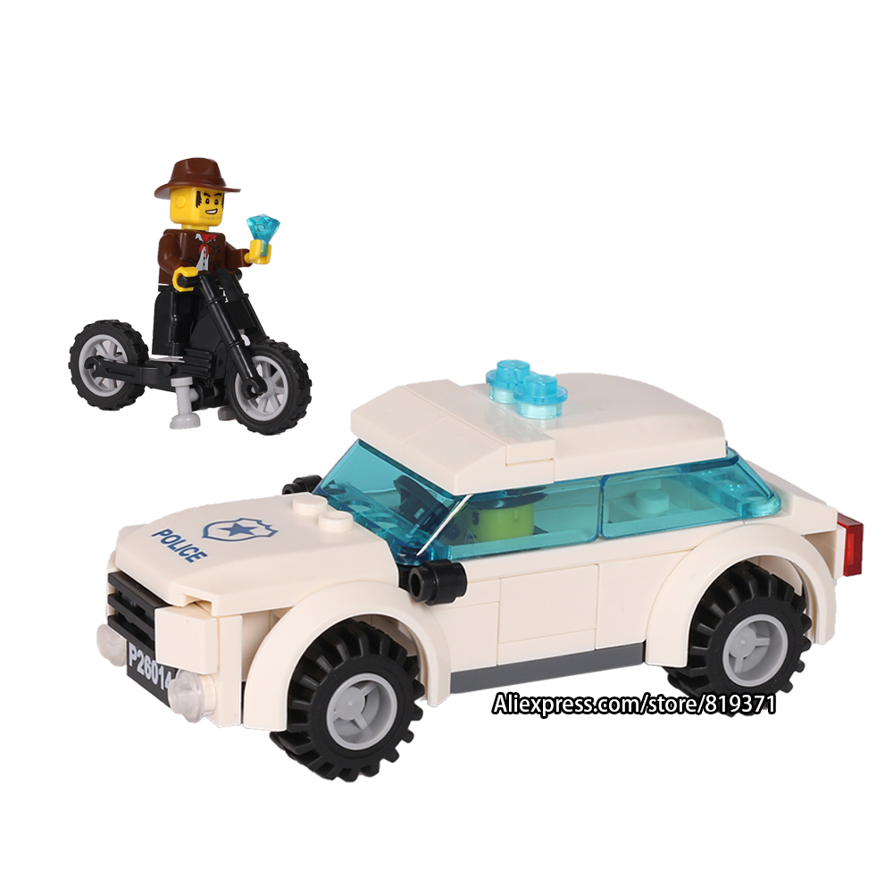 City Series Police car Motorcycle Building Blocks Policeman Models Toys For Children Boy Gifts Compatible with legoeINGlys 26014 compatible lepin city block police dog unit 60045 building bricks bela 10419 policeman toys for children 011