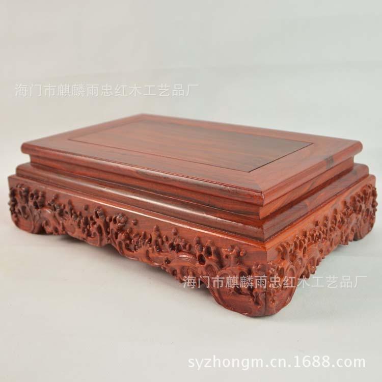 [Pluie] Zhong acajou plinthe pierres jade bouddha statues sculpté ornements en bois bonsaï base