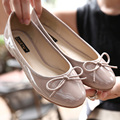 2016 Spring Autumn Women casual patent leather glossy wet look shiny slip on ballet flats ballerinas bowtie shallow oxfords shoe