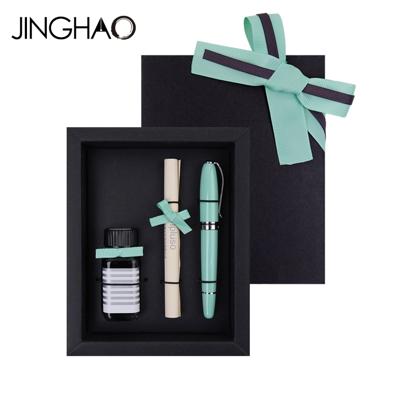 Luxury Green Fountain Pen Gift Set Metal Writing Ink Pens for Lover Friends and Families latest design jinhao dragon and phoenix carving fountain pen stationery luxury metal writing gift art collection ink pens