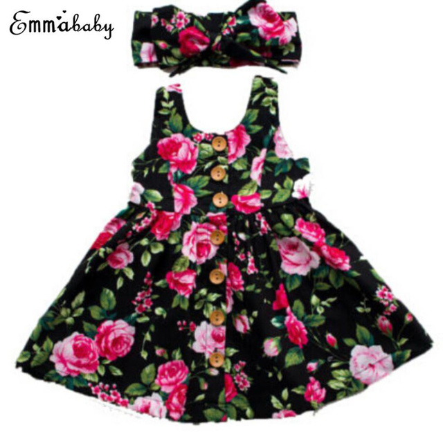 2019 Autumn Long Sleeve Girls Dress Baby Girl Clothes Button Floral Dress Wedding Pageant Formal Dresses Sundress Clothing