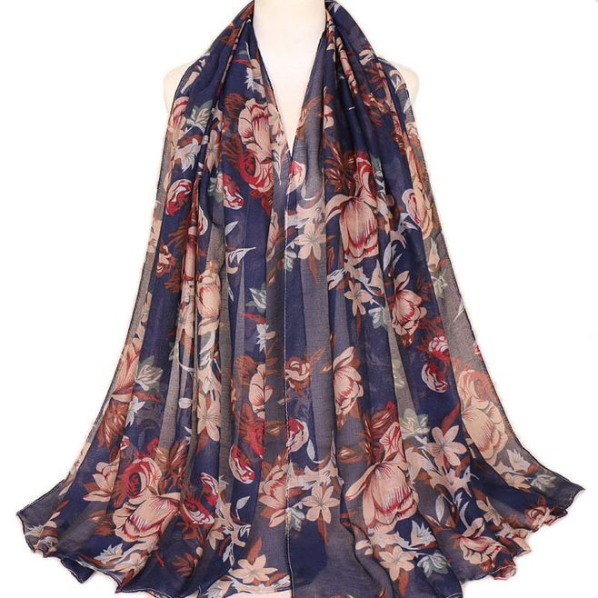 New Printed Balinese Cotton Scarf Hijabs For Women Casual Long Thin Scarf Muslim Wrap Flower Shawl Arab Ethnic Headwear 180x80cm