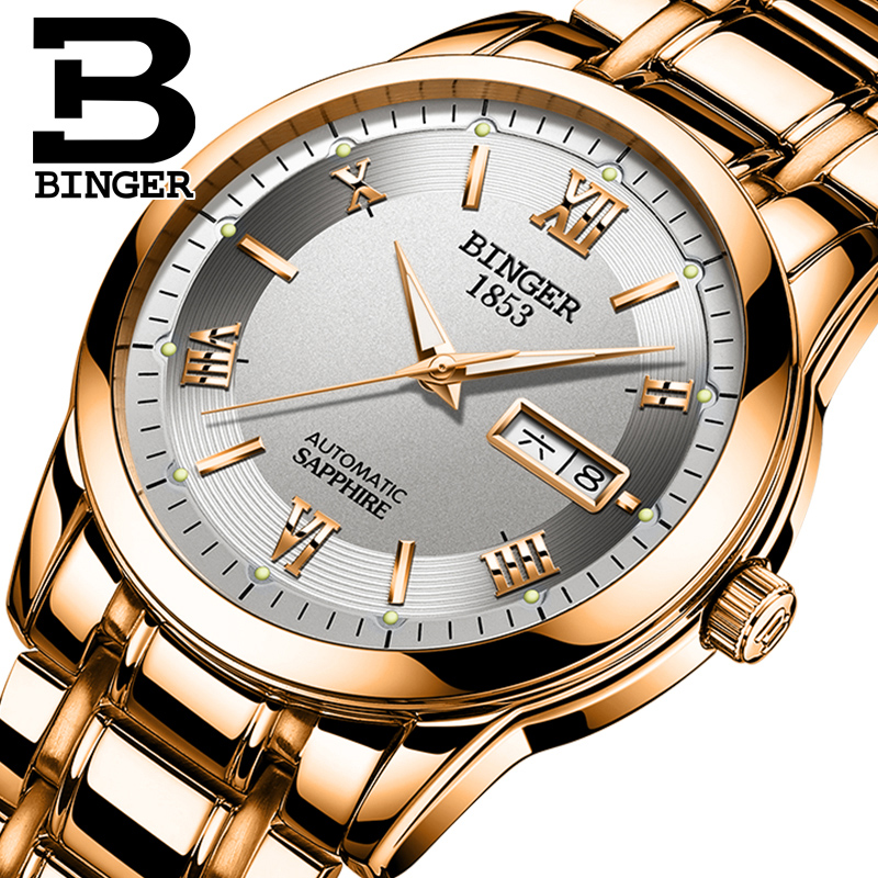 2017 BINGER Luxury Brand Watches Men Automatic self-wind Fashion Casual Male Watch Full Steel Rose Gold Mechanical Wristwatch men mechanical watch brand luxury skeleton wristwatch stainless steel antique fashion casual automatic self wind watches lz2108
