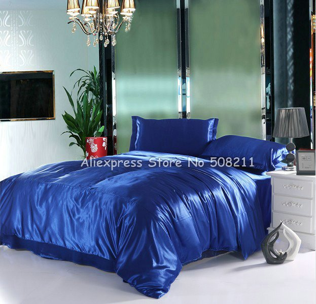 Newest Royalblue Solid Pattern Smooth Imitated Silk 4Pcs King Bed