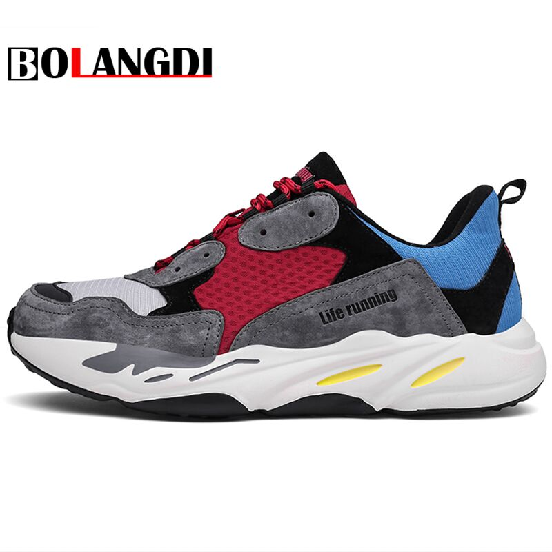 Bolangdi New Spring/Autumn Men Women Breathable Sports Shoes Female Outdoor Athletic Laces Light Running Shoes For Male Sneakers