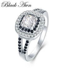 [BLACK AWN] 3.2g 925 Sterling Silver Jewelry Black&White Stone Engagement Ring Bague Wedding Rings for Women C428