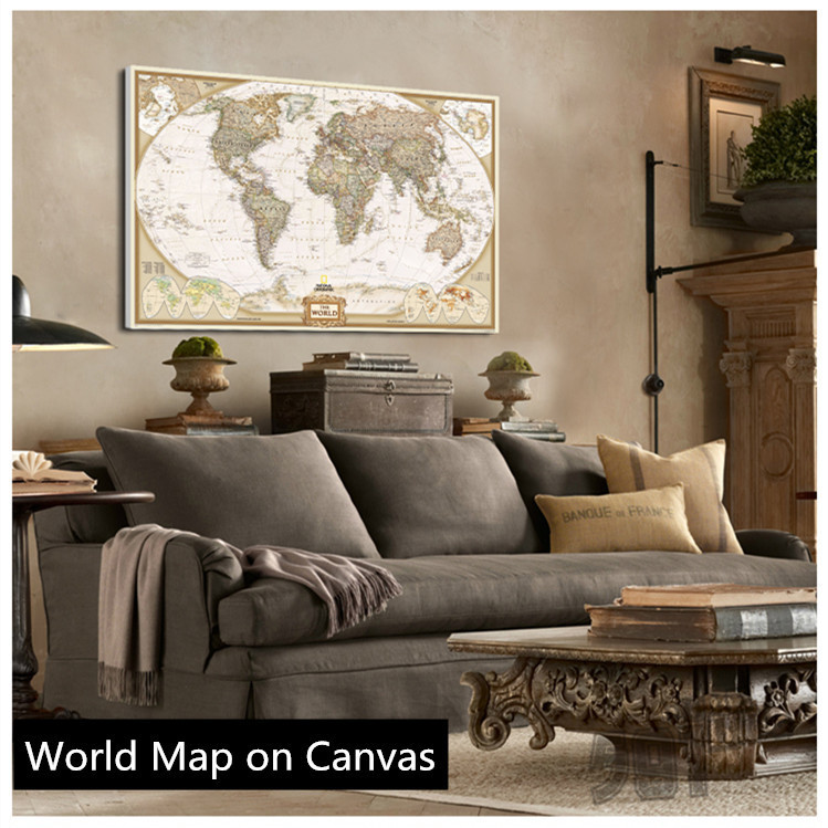 Vintage English World Map Painting On C