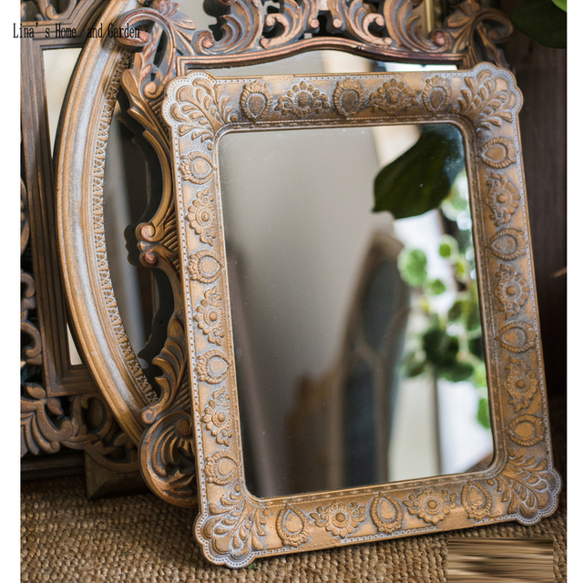 Handcrafted Clic Antique French Gold Rectangle Mdf Wall Mirror