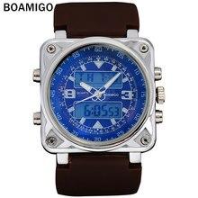 BOAMIGO hombres deportes moda relojes de doble pantalla de goma del hombre analógico digital negro reloj hombre relojes de pulsera 30 M resistente al agua