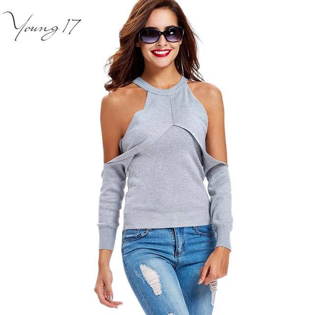Young17 2016 suéter del hombro blanco cálido otoño sólido sexy mujeres delgadas del suéter del tanque diseñador suéter mujer hombro abierto