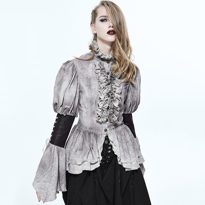 Punk Fancy Ruffles Big Sleeves Shirt Steampunk Gothic Women Blouses Double Layer Hem Retro Shirt with Lace Collar