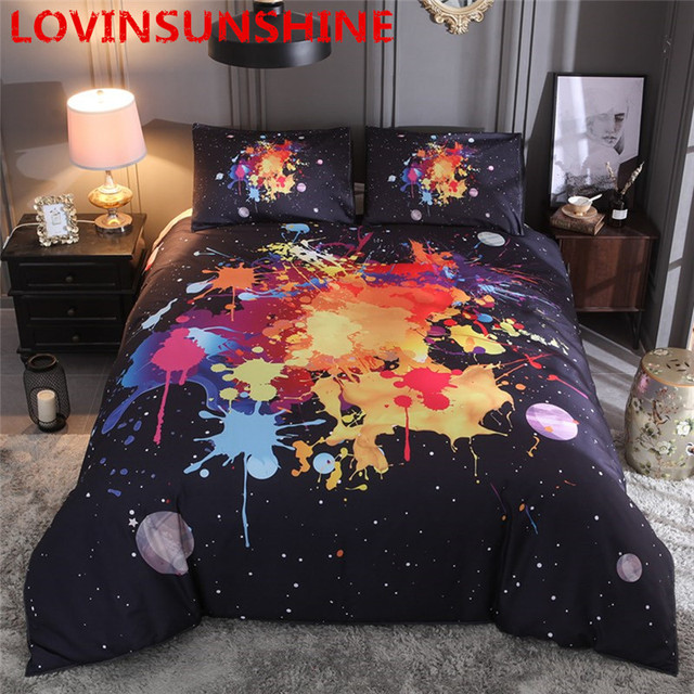 LOVINSUNSHINE Universe Outer Space colorful Galaxy Bedding Set New Design 2pcs/3pcs Duvet Cover with Pillowcase King Queen Size