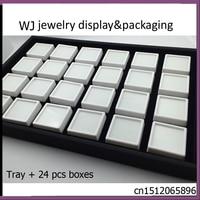 New White Memory Foam Insert Gem Jars Gemstone Storage Display Tray With 24pcs Boxes Loose Diamond