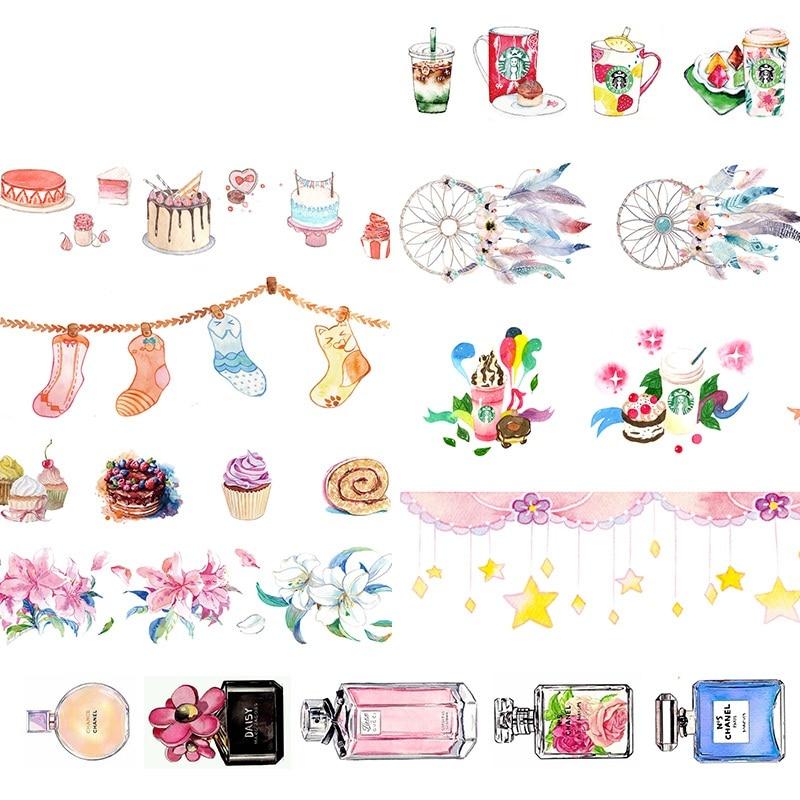 New 10m Washi Tape Retro Coffee Flower Drinks Perfume Decorative Adhesive Tape Scrapbooking DIY Paper Japanese Stickers цена 2017