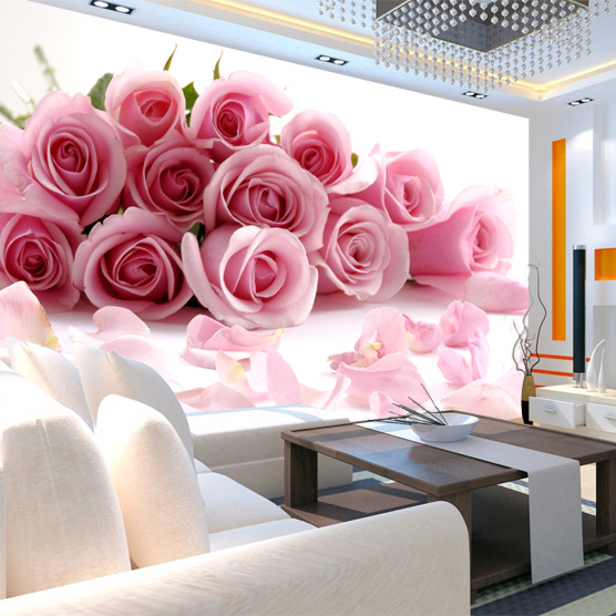 Custom 3d stereoscopic large mural wallpaper non-woven wall paper fabric living room TV backdrop bedroom restaurant pink roses free shipping marshall dimensions art wallpaper nonwoven large mural bedroom living room tv backdrop custom size