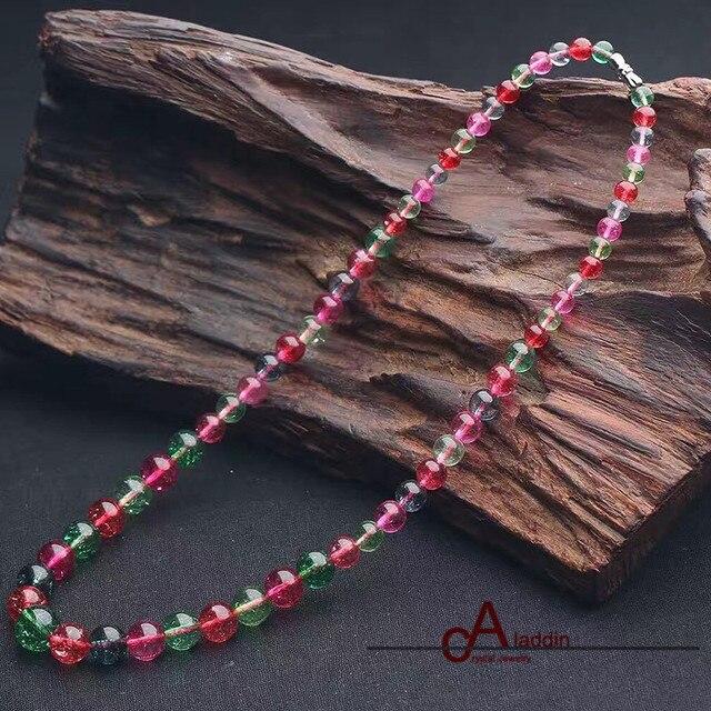2017 Nova Moda Colares Estilo Frizzling Quatz Graduado colar Turmalina beads para As Mulheres presente do Amor