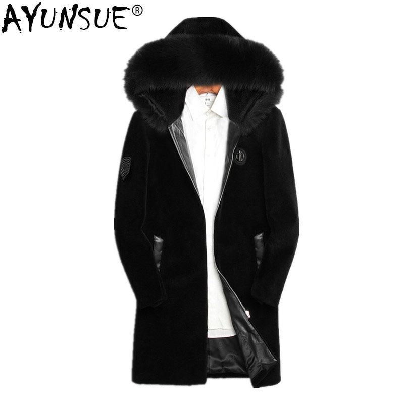 AYUNSUE 2018 Winter Jacket Men Real Sheep Shearing Fur Coat Real Fox Fur Collar Jackets Mens