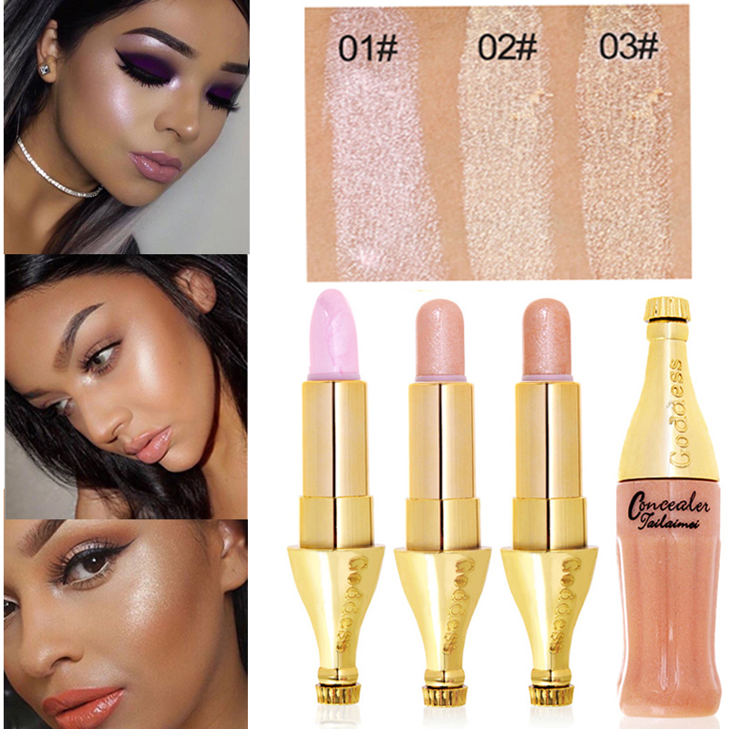 Fashion Cute Bottle Shape Gold Metallic Shimmer Highlighter Stick Maquillage Professional Face Makeup Bronzers Contour Pen image