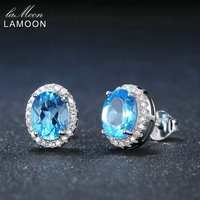 LAMOON Classic 6x8mm 100 Natural Oval Blue Topaz 925 Sterling Silver Jewelry Platinum Plated S925 Stud