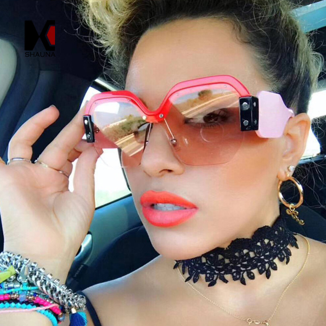 738a8fc0d9 SHAUNA Fashion Half Frame Women Square Sunglasses Vintage Men Blue  Integrated Tinted Lens Shades UV400