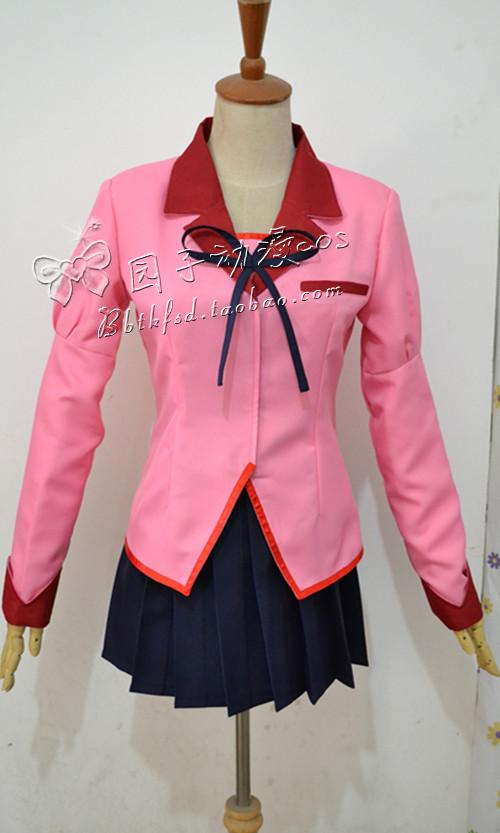 Japanese Hot Anime Bakemonogatari cosplay Hanekawa Tsubasa Senjougahara Hitagi Kanbaru Suruga cos school uniforms top skirt